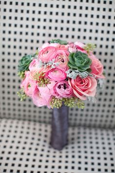 Pink Bouquet with Succulents | Photography: Birds of a Feather | See the Wedding on #SMP: http://www.stylemepretty.com/2013/03/01/modern-palm-springs-wedding-from-birds-of-a-feather/