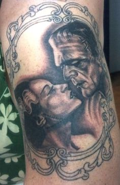 My tattoo ...we used two of my fav pics of each of them to create the passionate/loving theme I wanted. The Bride and Frankenstein's Monster. Work by Andy Smith @ Generation Rock in Concord, CA. - JLKG