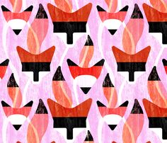 Foxy gift wrap by melbity on Spoonflower
