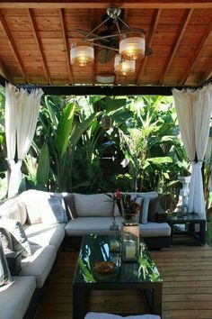 Underneath a patio: Tropical backyard patio makes you feel like you live in an exotic place. Love it! Outdoor Rooms, Outdoor Gardens, Outdoor Living, Outdoor Decor, Outdoor Lounge, Outdoor Seating, Outdoor Travel, Patio Tropical, Tropical Houses