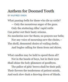 Analysis Of Poem Anthem For Doomed Youth By Wilfred Owen