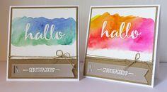 Geburtstagskarten / Birthday cards, Stampin up, Hallo / Hello, Aquarell / Watercolor