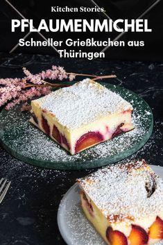 Quark Plum-semolina cake-how to make healthy cake in just 5 minutes Healthy Cake Recipes, Sweet Recipes, Baking Recipes, Snack Recipes, Dessert Recipes, Sweet Desserts, Bolo Amelia, German Baking, Semolina Cake