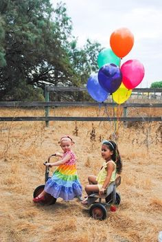 rainbow balloons- kid photography