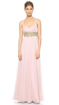 Notte by Marchesa Silk Chiffon Draped Gown