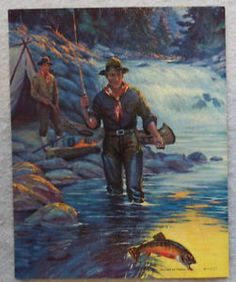 Vintage Fly Fishing Art | Fly Fishing Lithograph Men Camp Fish River Print Fine Art Vintage 30's ...