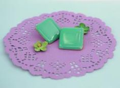 """You will shine in these bold vintage beauties! Details Large square vintage earrings, bright green, measure 1 1/4"""" width. Great condition. About My Retro Earring We hunt for unique earrings that we lo"""