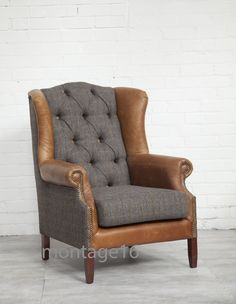 Leven Harris Tweed Leather Fabric Wingback Chair Armchair High Back Chair Small Chair For Bedroom, Bedroom Chair, Chair And Ottoman, Wingback Chair, Sofa Recovering, Red Dining Chairs, Cheap Chairs, Leather Fabric, Leather Chairs