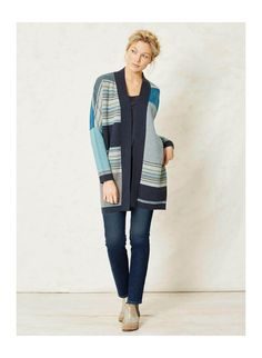 $120 Blue asymmetrical striped organic Cotton Throw