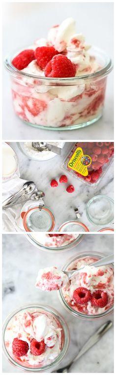 5 Ingredient Raspberry Fool is the easiest #dessert you'll make all summer #recipe on foodiecrush.com #raspberries
