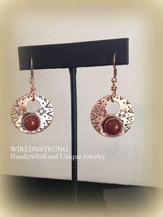 Copper Gemstone Earrings, Carnelian Gemstone earrings, Gift for her, Women's Jewelry, Healing gemstone earrings, Fashion Jewelry,