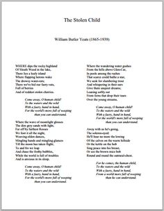 The Stolen Child by William Butler Yeats | Printable Poem (PDF)