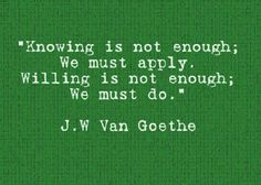 about knowing & willing | Goethe