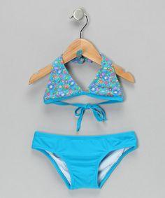 Loving this Blue Summer Blossom Bikini - Girls on #zulily! #zulilyfinds