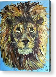 "Braveheart - African Male Lion: An acrylic painting of a male lion printed on to the back of a 1/4"" thick acrylic sheet to produce a high gloss effect by Kelly Goss Art. Delivered ""ready to hang"" with two mounting options. Perfect to brighten up and decorate your home. Fit for any wall in any room. The special gift to spice up a friend's home decor. For a lover of animals and African wildlife art."