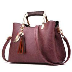 [US$60.71] Women PU Leather Tote Bag Retro Crossbody Bag #women #leather #tote #retro #crossbody