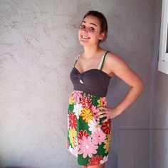 Urban Renewal Psychedelic Babydoll Dress Urban Outfitter Urban Renewal Dress! Great condition, worn once or twice. Fun floral pink and green pattern in skirt. Cute cutout under bust. Made from vintage fabrics. Urban Outfitters Dresses Mini