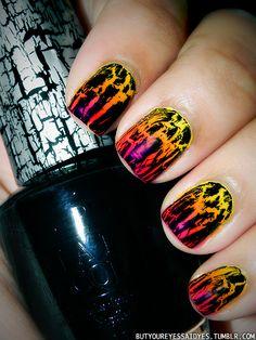 Sunset Shatter ... Colors: Sun-Sational (Ulta), Orange Flame (Ultra Pro), Pink Voltage (China Glaze), Black Shatter (OPI)