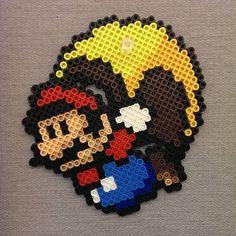 Super Mario perler beads by Perler Bead Templates, Diy Perler Beads, Pixel Beads, Fuse Beads, Pearler Bead Patterns, Perler Patterns, Super Mario, Perler Bead Mario, Safety Pin Crafts