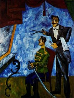 Mikhail Larionov was an avant-garde Russian painter & founding member of Jack of Diamonds (1909–1911) and the more radical Donkey's Tail (1912–1913). In 1913 he created Rayonism, which was the first creation of near-abstract art in Russia. He had a one-man show at the Omega Workshops. In 1915 he left Russia and worked with the ballet owner Sergei Diaghilev in Paris on the productions of the Ballets Russes.