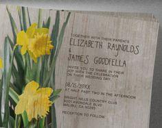 Rustic Daffodils Wedding Invitation