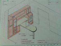 Progetto Cucina lato colonne dispense con elementi a giorno e piano penisola incorporato.