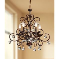 Wrought Iron and Crystal 5-light Chandelier   Overstock.com Shopping - Great Deals on Chandeliers & Pendants