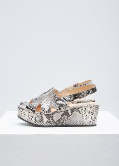 Platform slingback sandals in grey snake-embossed leather. Layered, cut-out vamp strap. Leather insole and lining. Slingback Sandal, Ankle Strap, Footwear, Leather, Shoe, Shoes, Zapatos