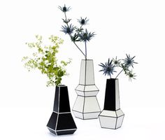 London-based designer Phil Cuttance created a series of handmade black and white vases from discarded plastic, an extension of his Weld Furniture collection from 2009. Each vase is handcrafted and individually numbered and made using hot air welding that connects each plastic shape together. The ABS plastic that is used comes from discarded off-cut pieces from a local London fabricator.