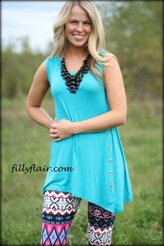 Turquoise/Blue Button Tank - Filly Flair