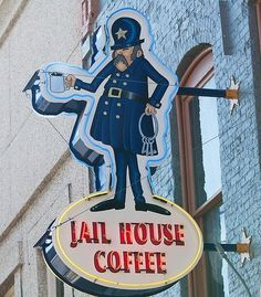 Jail House Coffee neon sign in Butte, Montana.