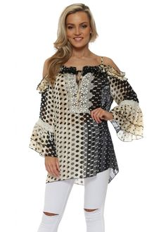 MY STORY Black & Cream Spot Ruffle Cold Shoulder Top