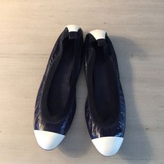 CHANEL Navy Flats Great condition! Small spots of discoloration on right toe and left heel, I think from being next to something in my closet. Hardly noticeable though! CHANEL Shoes Flats & Loafers