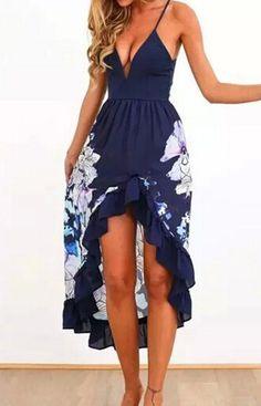 Asymmetrical Floral Maxi Dress – Trendy Road