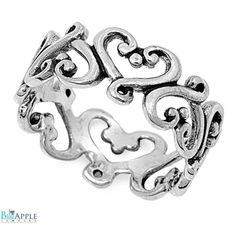 8mm Heart Filigree Band Solid 925 Sterling Silver Plain Simple Classic Heart Filigree Wedding Engagement Anniversary Promise Love Heart Ring
