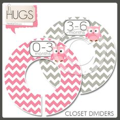 Closet Dividers in Pink Owls and Gray Chevron Zigzag Stripes for Baby Girls - 6 Rings - DIY Project on Etsy, $12.00