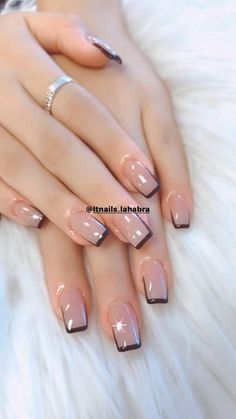 French Manicure Nails, Oval Nails, French Tip Nails, My Nails, Silver Tip Nails, French Manicure With A Twist, Classy Nails, Simple Nails, Airbrush Nails
