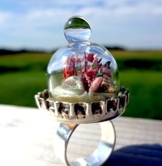 DIY Under the Dome Ring Tutorial from Resin Crafts here.She used a doll house miniature bell jar for the dome. You could personalize this so easily using different miniatures - like really miniature people, houses, etc