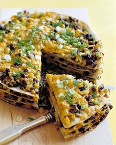 Black Bean Pie Serve this brightly colored, layered tortilla pie with salsa and sour cream on the side. You can assemble the pie ahead of time, then bake it just before serving.Serve this brightly colored, layered tortilla pie with salsa and sour cream on Mexican Dishes, Mexican Food Recipes, Vegetarian Recipes, Cooking Recipes, Pie Recipes, Vegetarian Barbecue, Vegetarian Chili, Vegetarian Cooking, Mexican Pie