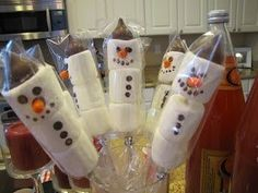 Marshmallow Snowmen 1 bag large marshmallows 1 box of ... | Christ…