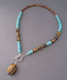 Tigers Eye and Turquoise Howlite Necklace by Sea Chelles Design