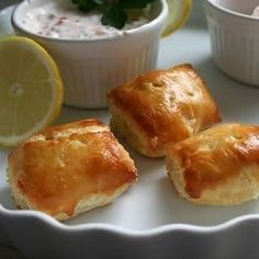 "Salmon Puffs | ""Serve with a dill sauce, crème fraiche or alone...they are wonderful and simple."""