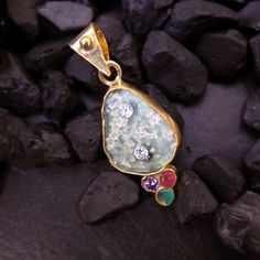 Handmade-Designer-Real-Roman-Glass-Pendant-22K-Gold-Over-925K-Sterling-Silver