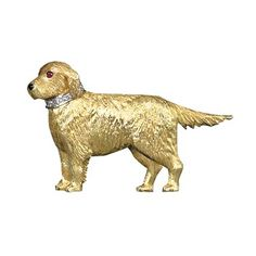 Dog Jewelry, Animal Jewelry, Fine Jewelry, Gold Retriever, Scully And Scully, Animal Rings, Cat Pin, Vintage Dog, Vintage Brooches