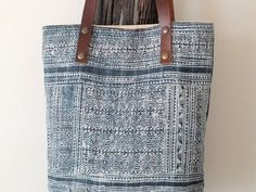 Unique Hmong Handwoven Hemp Tote Bag, Ethnic Bohemian Bag with Leather Handles, Ethnic Vintage Costume Hmong Fabric and Canvas Tote Bag