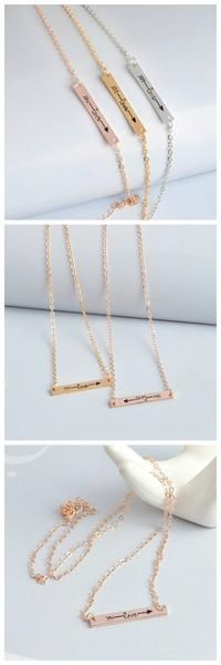 Arrow Necklace Hot Three Color Gold And Silver Small Bar Chain. #arrow #necklace