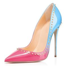 Paradise Blue Studded Leather Stiletto Pumps POSH GIRL ($138) ❤ liked on Polyvore featuring shoes, pumps, studded stilettos, patent shoes, blue studded pumps, blue patent pumps and stiletto pumps