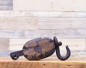 Vintage Pulley, Wood And Cast Iron Pulley, VIntage Block And Tackle
