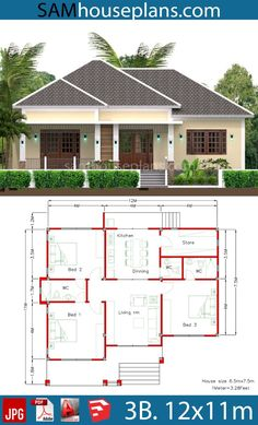 House Plans with Full Plan - Sam House Plans Model House Plan, My House Plans, House Layout Plans, Simple House Plans, Family House Plans, Bedroom House Plans, House Layouts, Small Modern House Plans, House Floor Plans