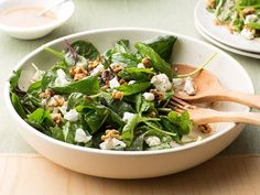 Get Food Network Kitchen's Spinach Salad with Goat Cheese and Walnuts Recipe from Food Network